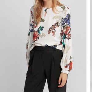 Express keyhole floral blouse